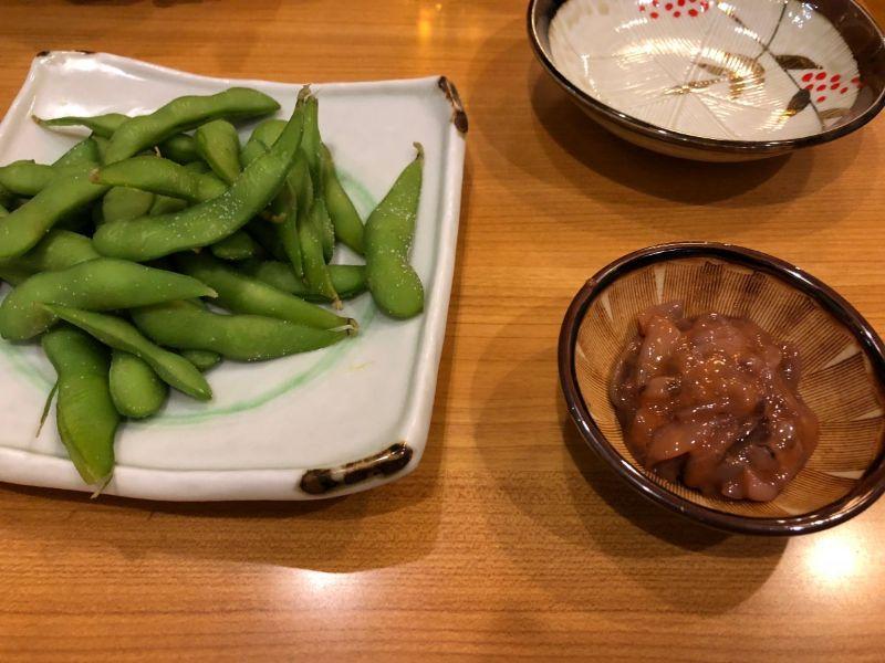 枝豆と塩辛も絶品